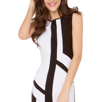 S/L Color Blocked Mini Dress in Black White