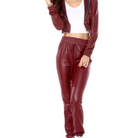 Pleather Jogging Pant in Wine