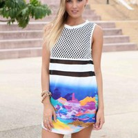 Blue Sleeveless Nautical Graphic Mini Dress