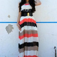 Striped Sheer Chiffon Maxi Dress in Coral (D55436C)