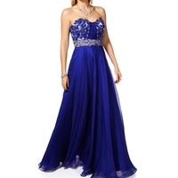 Vivianne- Royal Strapless Prom Dress