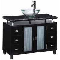 Home Decorators Collection Moderna 42 in. W x 21 in. D Deluxe Sink Cabinet in Black with Glass Basin/Solid Granite Top