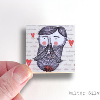 Bearded Lumberjack Magnet - Lumberjack Magnet - Dude Gift Item - Easter Gift for Him - Man Cave Art