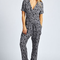 Frida Geometric Monochrome Short Sleeve Jumpsuit