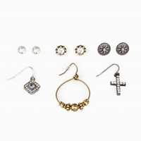 CROSS RHINESTONE EARRING SET