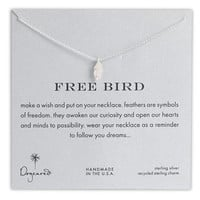 Women's Dogeared 'Reminder - Free Bird' Boxed Feather Necklace - Sterling Silver
