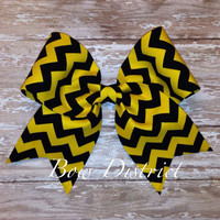"3"" Black and Yellow Chevron Cheer Bow"