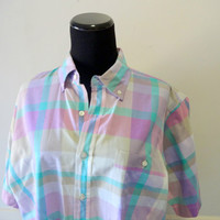 Vintage Pastel Plaid Button Up Shirt 1980s