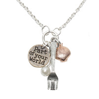 Disney The Little Mermaid Fork Shell Charm Necklace
