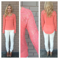 Coral Paisley Lace Sleeve Top