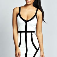 Carrie Contrast Colour Bandage Bodycon Dress