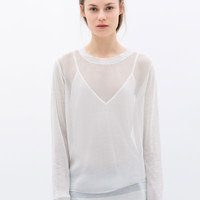 FINE KNIT MOCK LAYER T-SHIRT