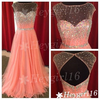 Coral Beaded Transparent A-line Round Neckline Sweep Train Prom Dress