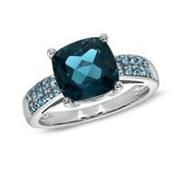9.0mm Cushion-Cut Blue Topaz Ring in Sterling Silver
