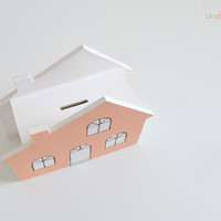 Handpainted plywood peach house money box, coin box, spring summer home decor