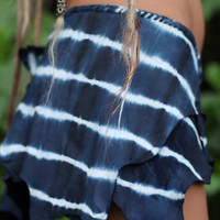 Navy Blue Tie-Dye Leather Belt Skirt