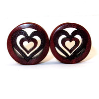 """Cutout Hearts Bloodwood Wooden Plugs 7/8"""" (22mm) 1"""" (25.5mm) 1 1/8"""" (28mm) 1 1/4"""" (32mm) 1 1/2"""" (38mm) 1 3/4"""" (44mm)"""