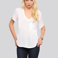RILEY V-NECK TEE - WHITE