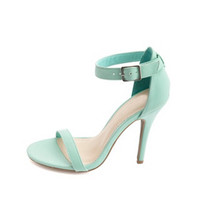 NUBUCK SINGLE SOLE ANKLE STRAP HEELS
