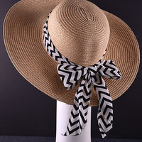 Floppy Hat with Black & White Chevron Bow