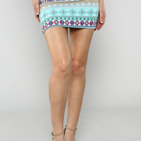 Tribal print skirt- mint
