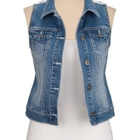 lace back denim vest