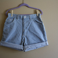 1990s LEE Striped High Waisted Shorts // Denim Jean 80s Cuffed Railroad Hipster Daisy Dukes Shorts // XS S M L XSmall Small Medium large