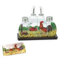 Country Rooster Cruet Set Salt And Pepper Shakers Gift