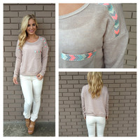 Mocha Neon Embroidered Pocket Long Sleeve Sweater Top