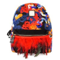 ZLYC Women's Backpack with Multicolor Feather Tassel Fleece