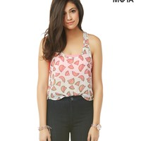 Sheer Chiffon Watermelon Tank