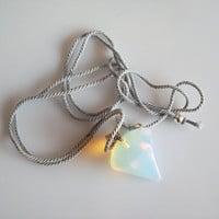 Geometric opalite pendulum on a plant-dyed adjustable cord necklace