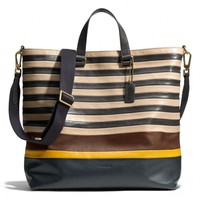 BLEECKER DAY TOTE IN BAR STRIPE LEATHER