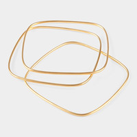 Square Gold Bangle Set