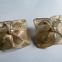Vintage Gold Wire Mesh Earrings In Flower pattern with Pearl Accent West Germany Costume Jewelry
