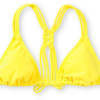 Malibu Yellow Macrame Back Triangle Bikini Top
