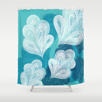 Falling Feathers Shower Curtain by Pixel Pop