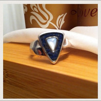 Lapis Moonstone Ring Inlay Lazuli Size 7 Carolyn Pollack Relios Sincerery Southwest Sterling Silver 925 Blue Stone Vintage Jewelry Navajo