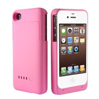 BXT® iPhone 4 / 4s External Rechargeable Backup Extended Battery Charger Case / Cover for Apple iPhone 4 / 4s (2000mAh, Pink)