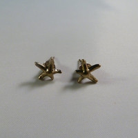 Cute tiny antique brass starfish earring studs