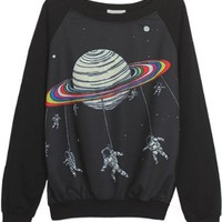 Sheinside Black Long Sleeve Saturn Astronaut Print Sweatshirt