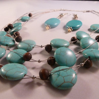 New handmade silver wire turquoise and wood beaded waterfall necklace