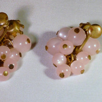 Vintage Pink Lucite Ball Cluster Dangle Earrings 1950s-1960s Screw Backs costume jewelry