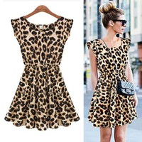 Ladies Sexy Leopard Swing Mini Dress Crewneck Tunic Skater Party Down Sundress