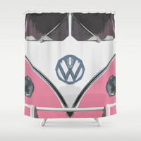 Pink Love Bus Redux Shower Curtain by Bruce Stanfield