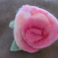 Felted rose, felted flower pin, pink rose, hand dyed, Valentine rose, felted wool flower, pink rose pin