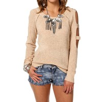 Ivory Cold Shoulder Pullover Sweater