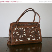 Vintage Tooled Leather Purse 1950s Mexican Leather Purse Bag Handbag Floral Tooled Multi Color