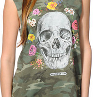 Obey Women's Reincarnation Camo Moto Cut Off Tank Top