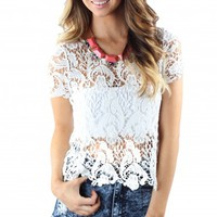 White Crochet Crop Top